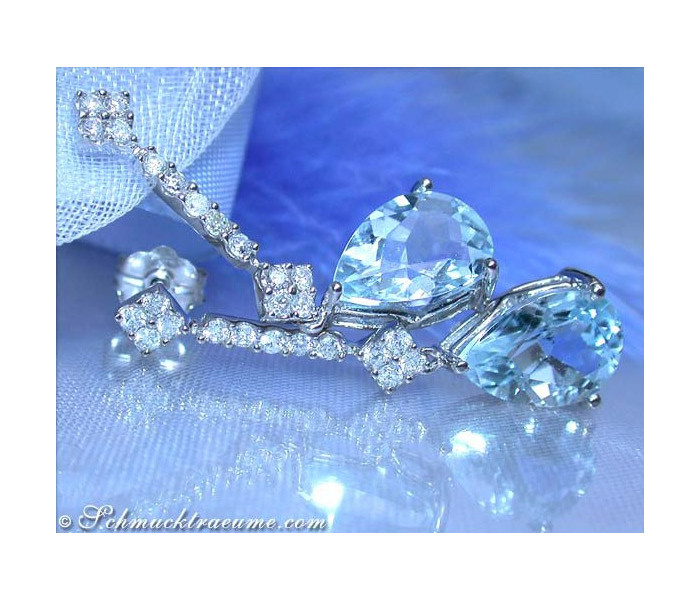 Enchanting Aquamarine Pear Earrings with Diamonds