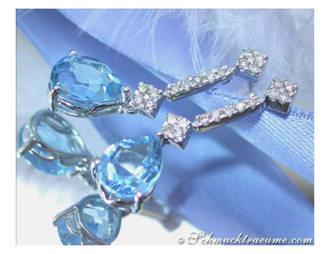 Cute Blue Topaz Diamond Earrings