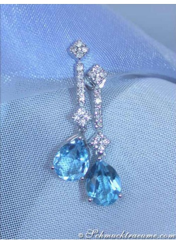 Cute Blue Topaz Earrings with Diamonds