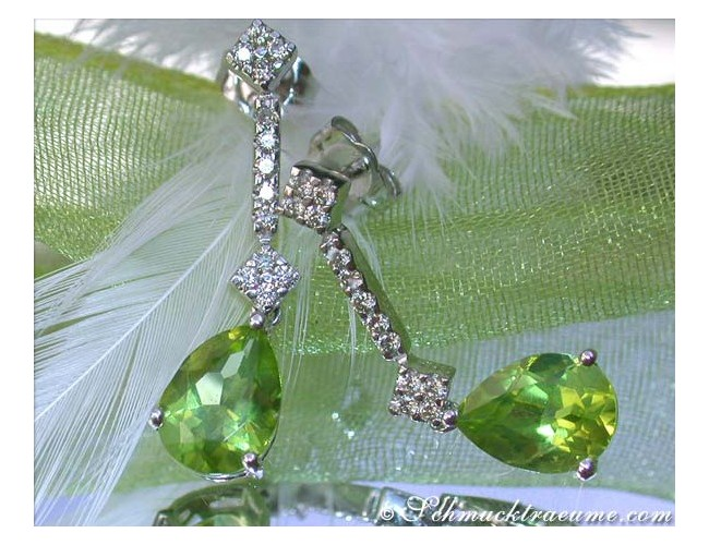 Timless Peridot Pear Earrings with Diamonds