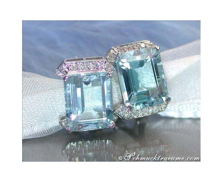 Aquamarin Ohrstecker mit Diamanten