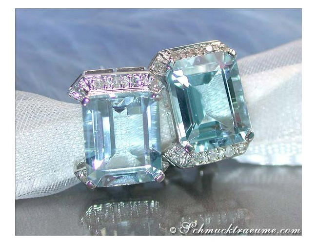 Pretty Aquamarine Diamond Studs