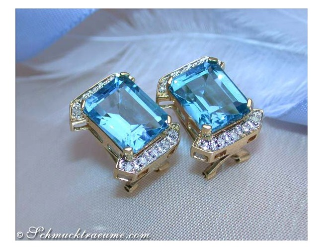 Pretty Blue Topaz Diamond Studs