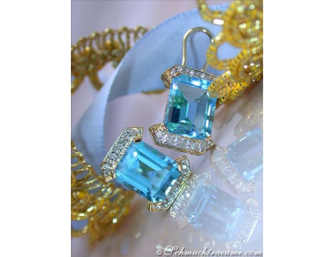 Pretty Blue Topaz Earrings with Diamonds