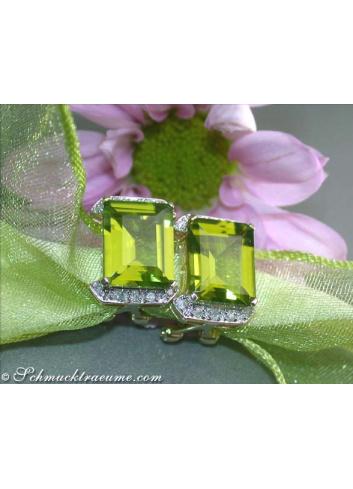 Pretty Peridot Diamond Earrings