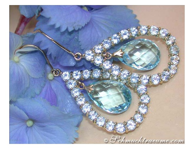 Magnificent Blue Topaz Chandelier Earrings