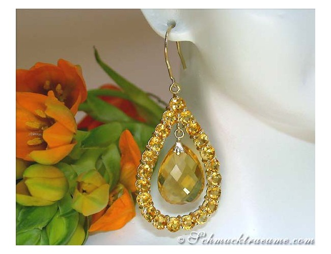 Gorgeous Citrine Dangling Earrings
