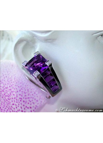 Interesting Amethyst Earrings with Diamonds