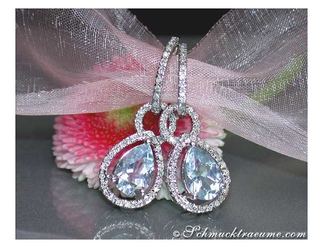 Convertible aquamarine drop earrings diamonds