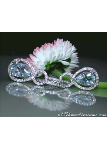 Convertible Aquamarine Earrings with Diamonds