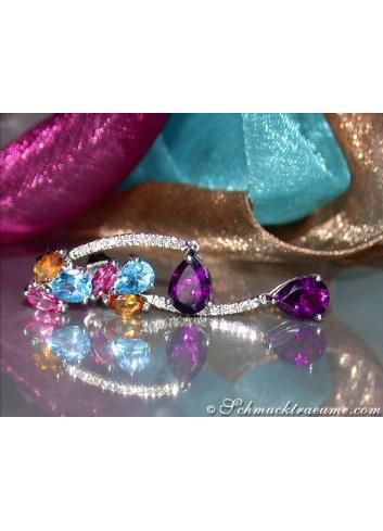 Pretty Multicolor Gemstone Earrings