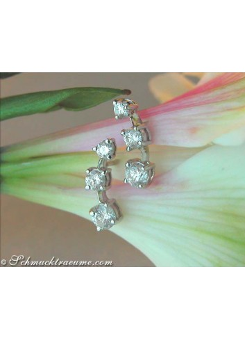 Pretty Three Diamond Solitaire Earrings