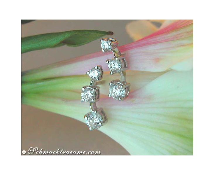 Pretty Three Diamond Solitaire Earrings