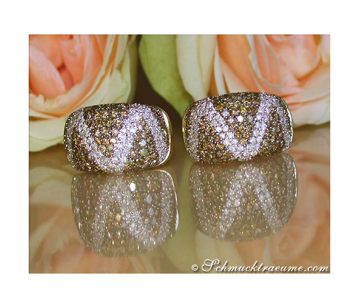 Attractive Brown and White Diamond Earrings (Zig Zag Style)
