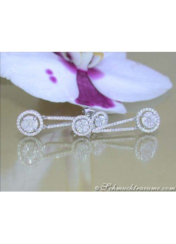 Diamant Ohrringe mit Marquise und Princess Diamanten