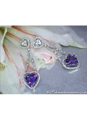 Excellent Tanzanite Heart Earrings with Diamonds
