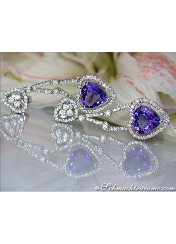 Tanzanite diamonds earrings in heart design