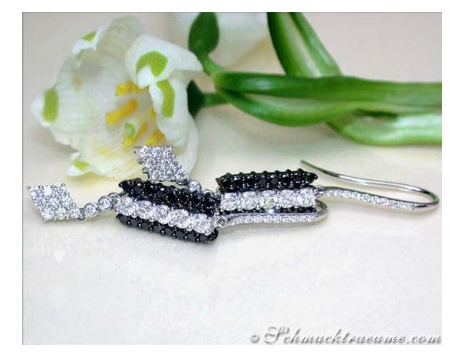 Beautiful Earrings with Black & White Diamonds