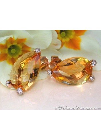 Stately Citrine Pear Earrings with Diamonds