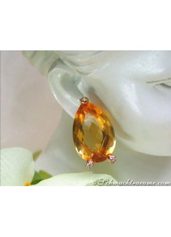 Stately Citrine Drop Earrings with Diamonds