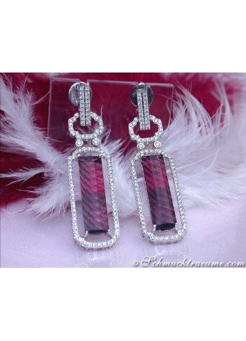 Tremendous Pink Tourmaline Earrings with Diamonds