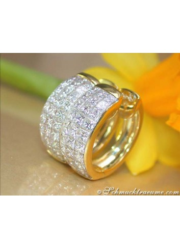 Exklusive Princess Diamanten Creolen in Gelbgold 750