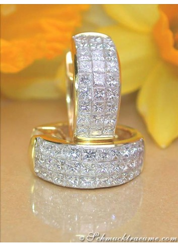 Exclusive Princess Diamond Hoop Earrings in Yellow gold 18k