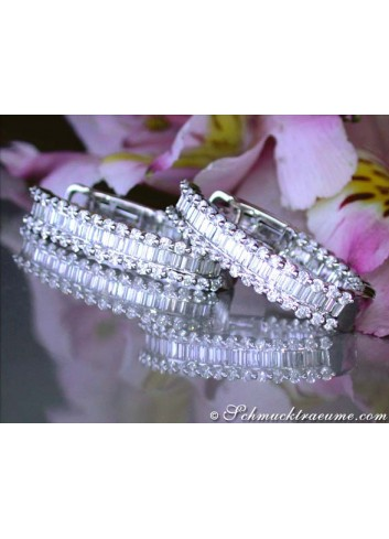 Exclusive Baguette Diamond Hoop Earrings