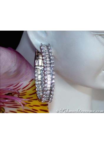 Exclusive Baguette Diamond Hoop Earrings