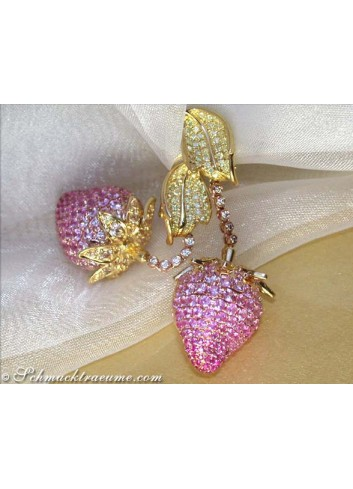 Strawberry Style Dangling Earrings with Pink & Yellow Sapphires