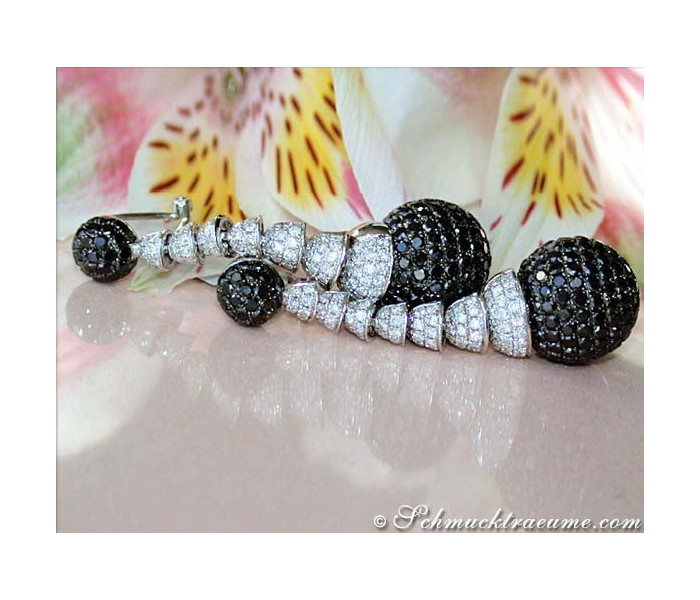 Unusual Dangling Earrings with Black & White Diamonds