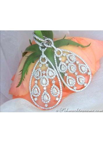 Noble Diamond Dangle Earrings with Pear Shaped Diamonds