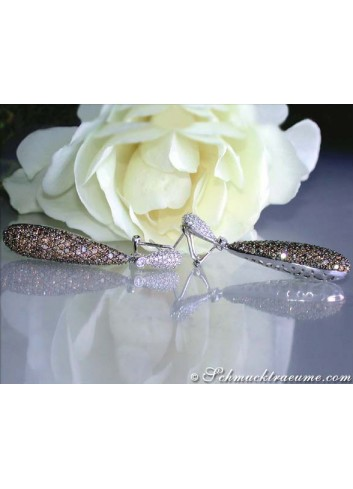 Magnificent Natural Brown & White Diamond Earrings