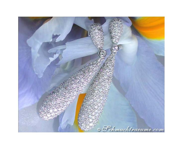 Cone-shaped Diamond Dangle Earrings