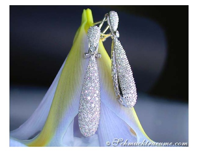 Cone-shaped Diamond Dangle Earrings