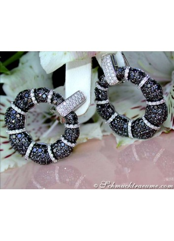 Opulent Black & White Diamond Earrings