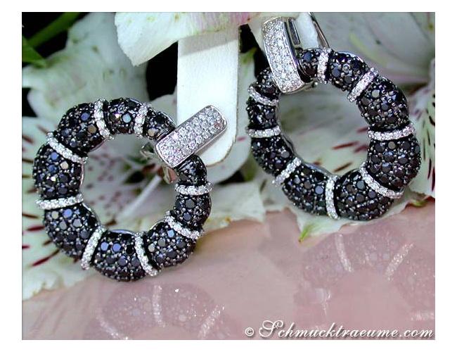 Brillanten Ohrstecker mit schwarzen Diamanten