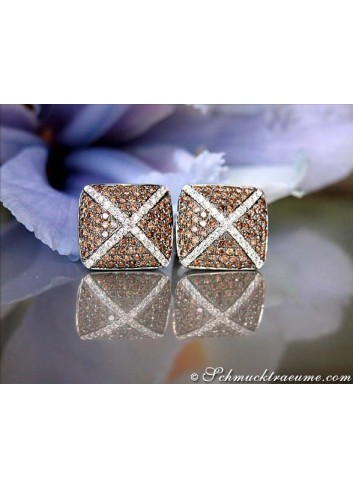 Extraordinary Brown & White Diamond Stud Earrings