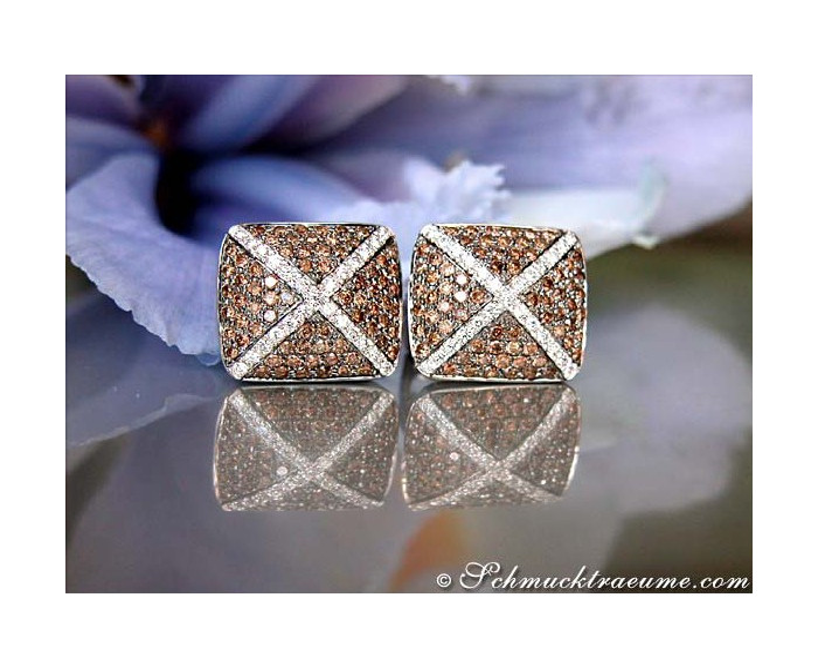Ohrstecker mit braunen Diamanten