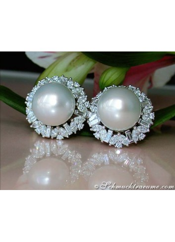 Sensational South Sea Pearl Earrings with Diamonds