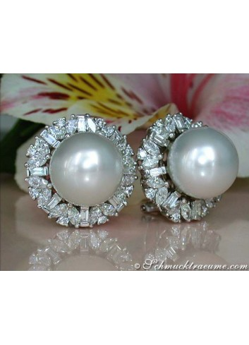 Luxus: Südseeperlen Ohrstecker mit Brillanten und Diamanten