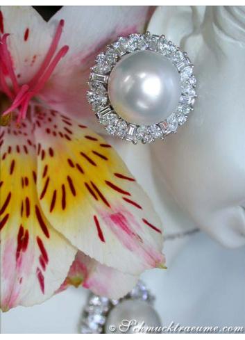 Sensational South Sea Pearl Earrings with Diamonds