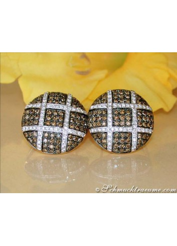 Extravagant Earrings with Natural Brown & White Diamonds