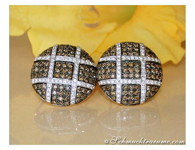 Extravagant Studs with Natural Brown & White Diamonds