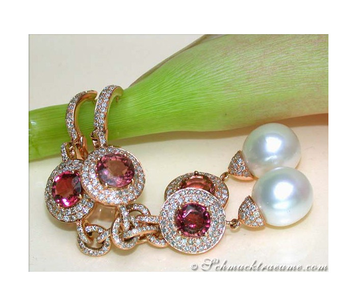 Impressive Dangling Earrings with Southsea Pearls, Tourmalines & Diamonds