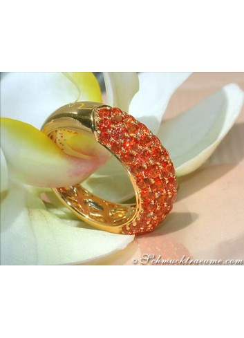 Orange Saphir Pavé Ring in Gelbgold 585
