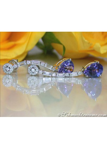 Precious Tanzanite Earrings with Diamonds