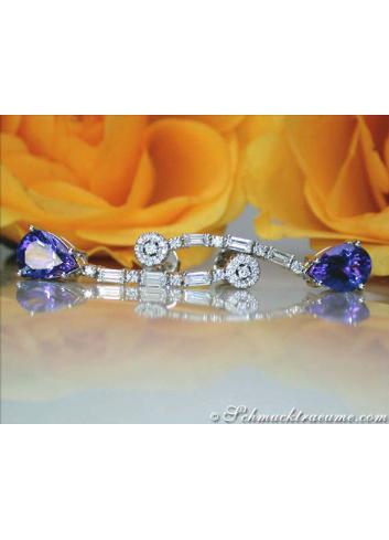 Precious Tanzanite Earrings with Diamonds