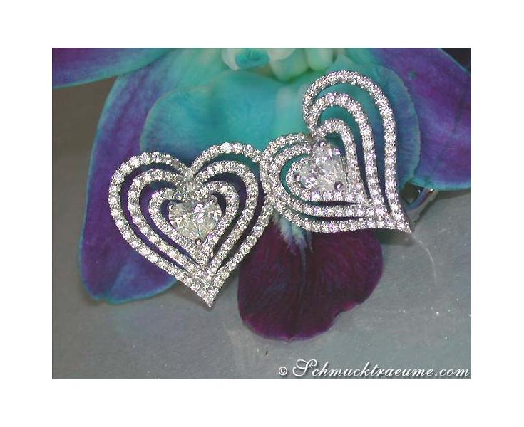 Striking Diamond Heart Earrings