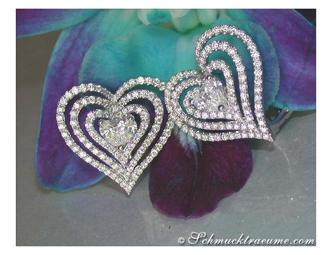 Striking Diamond Heart Earrings